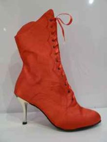 MOULIN ROUGE RED SATIN GOLD HEEL